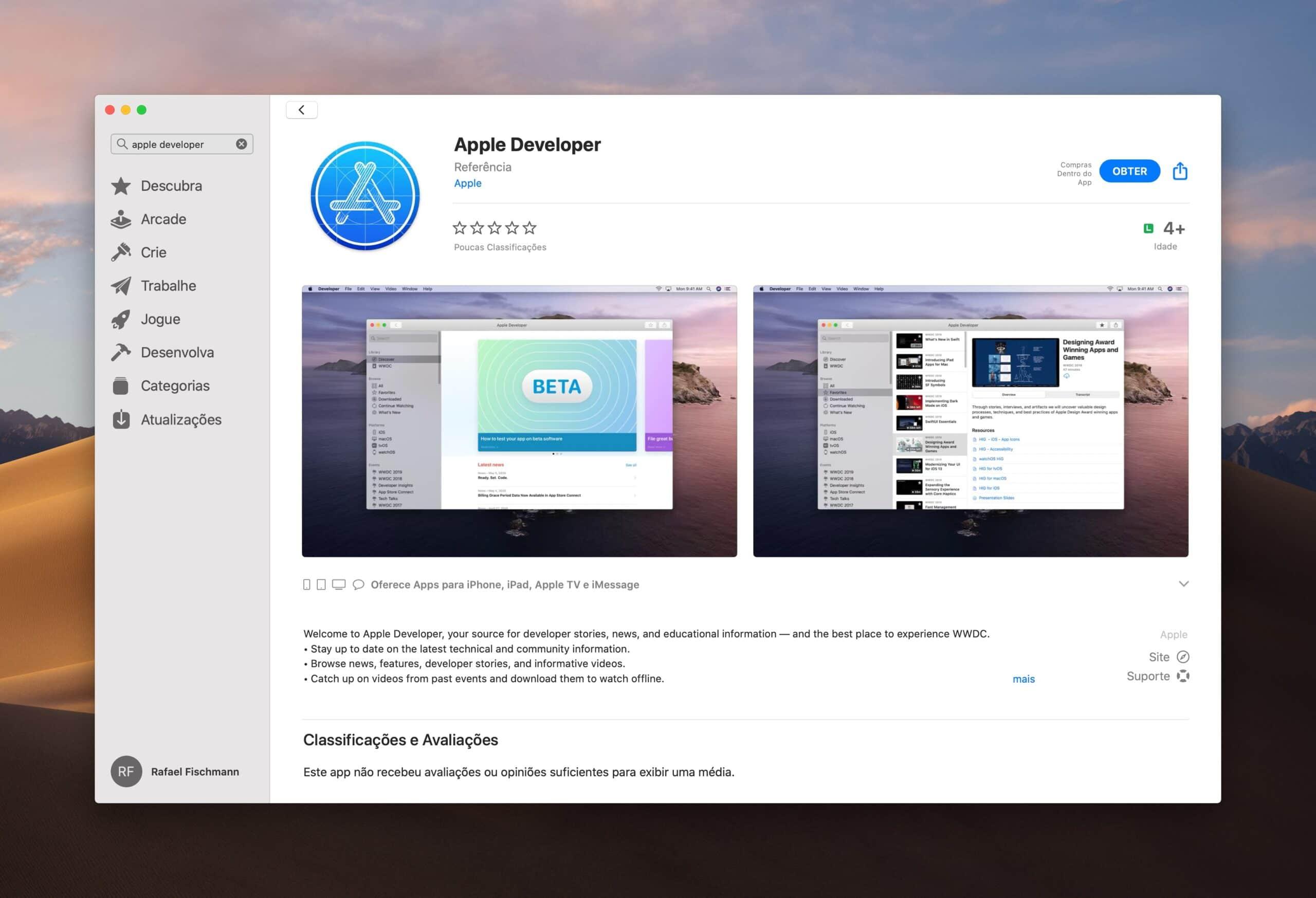Aplicativo Apple Developer para macOS
