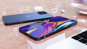 "Render ""iPhone 12"" azul-marinho"