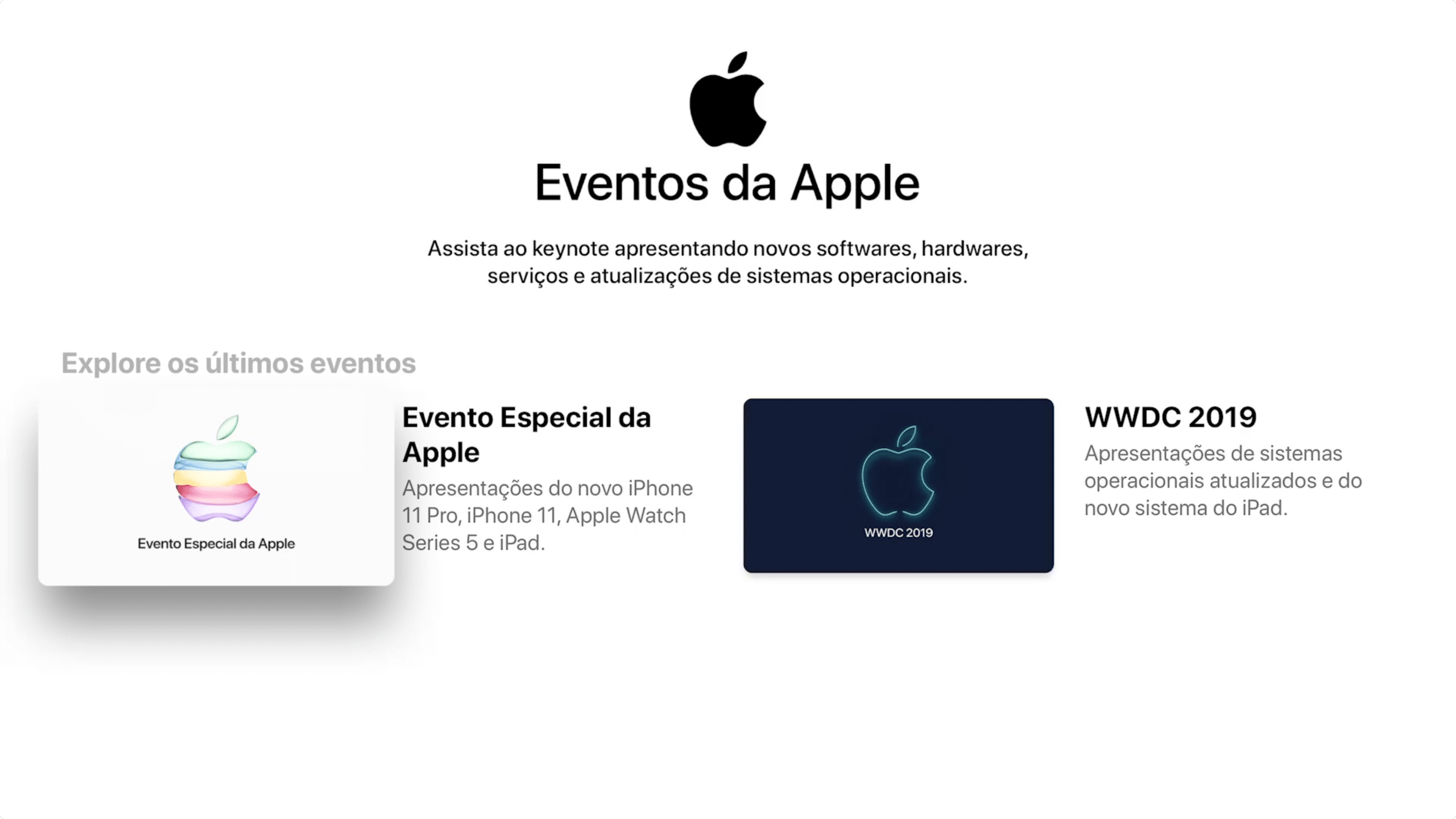 Apple Events no tvOS