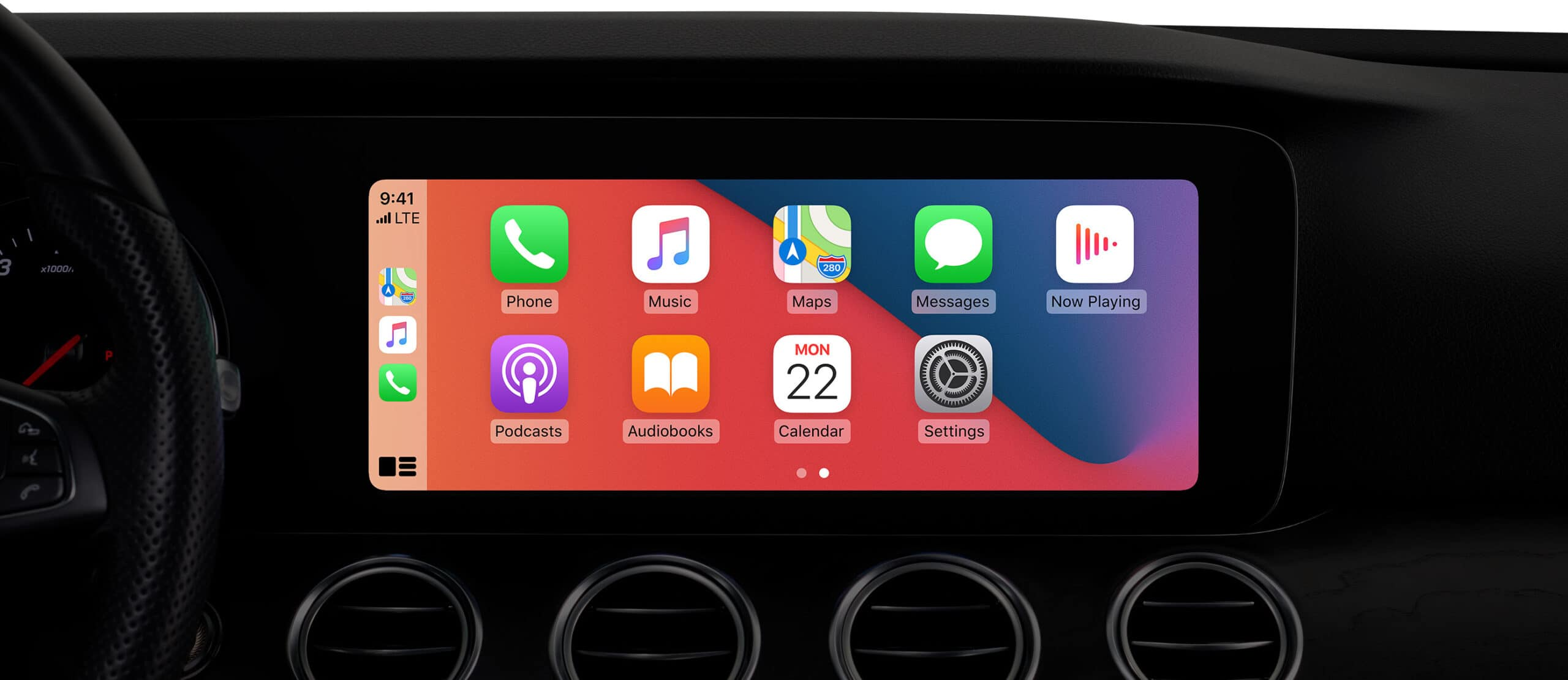 CarPlay com wallpaper personalizado