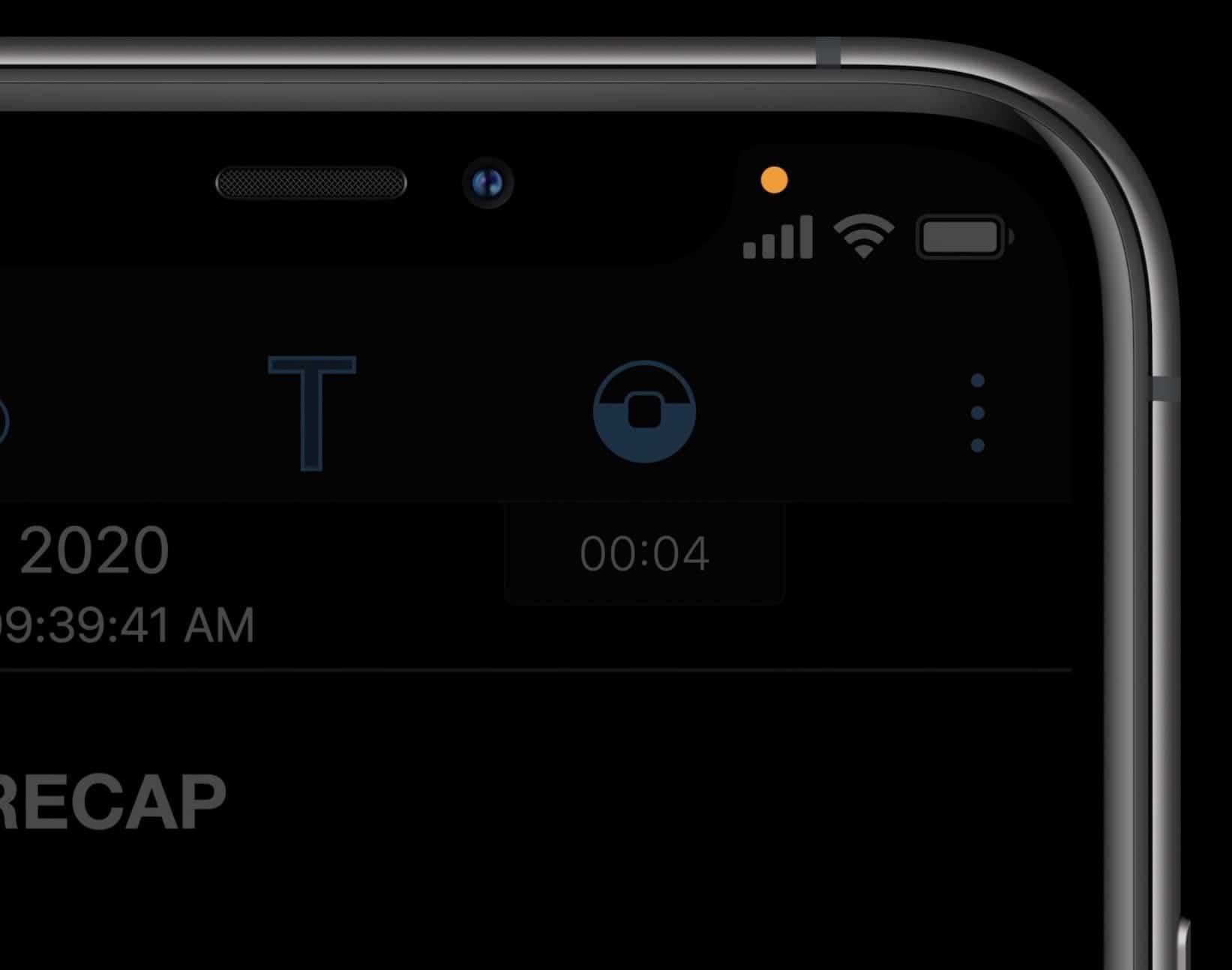 Indicador de acesso à câmera e ao microfone no iOS 14