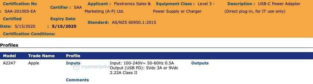 """Possível carregador de 20W dos """"iPhones 12"""" identificado como A2247"""