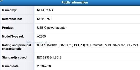 """Possível carregador de 20W dos """"iPhones 12"""" identificado como A2305"""