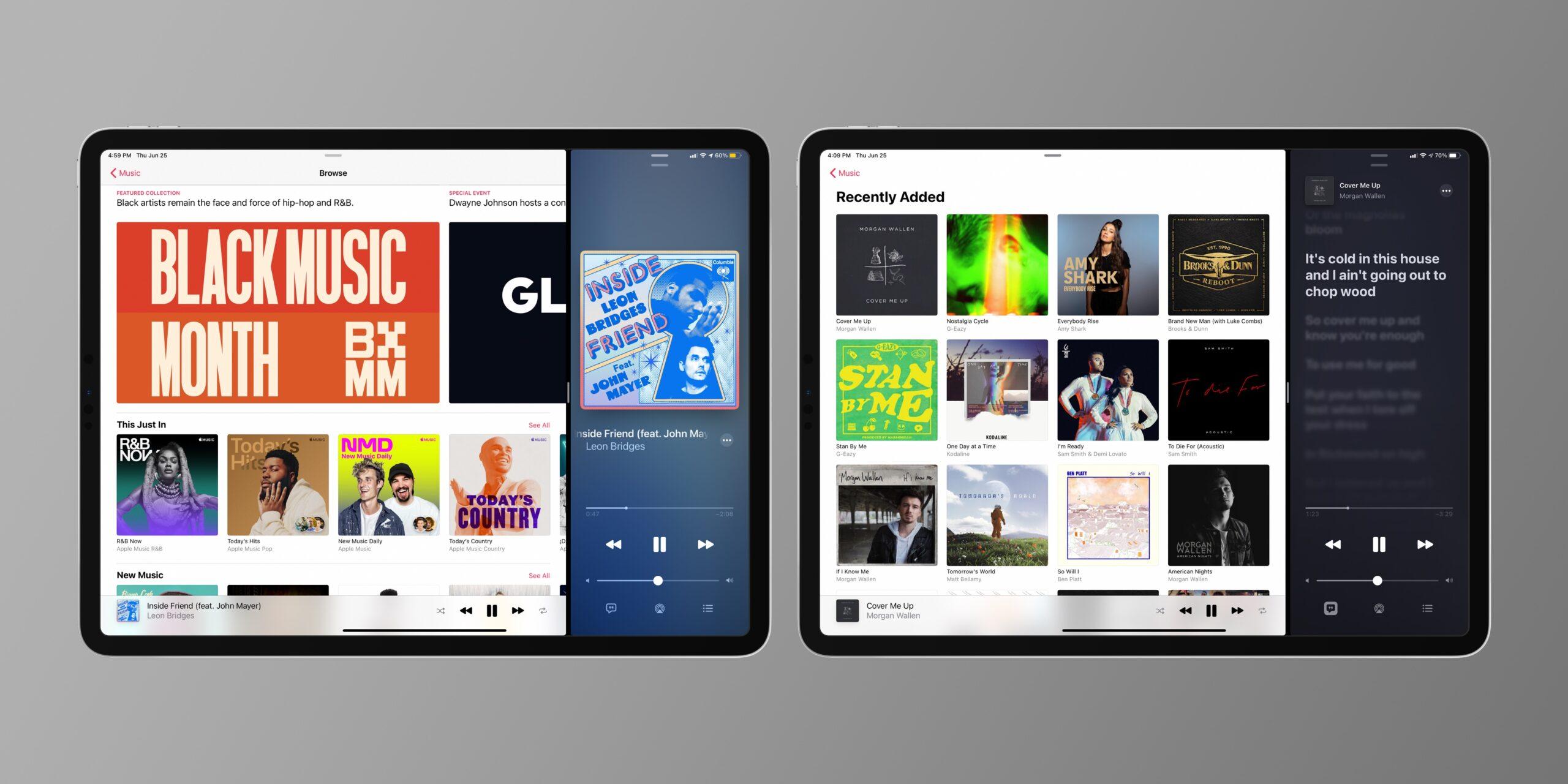Suporte a várias janelas do Apple Music