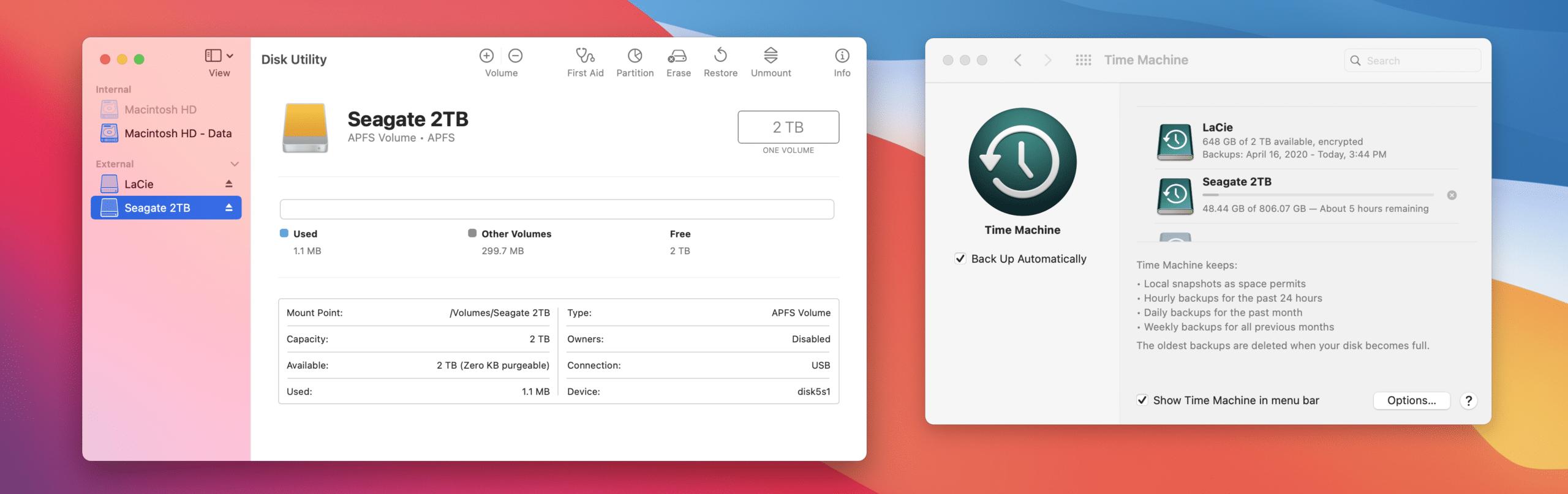 Backups APFS do Time Machine no macOS Big Sur