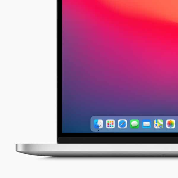 Detalhe no Dock do macOS Big Sur em MacBook