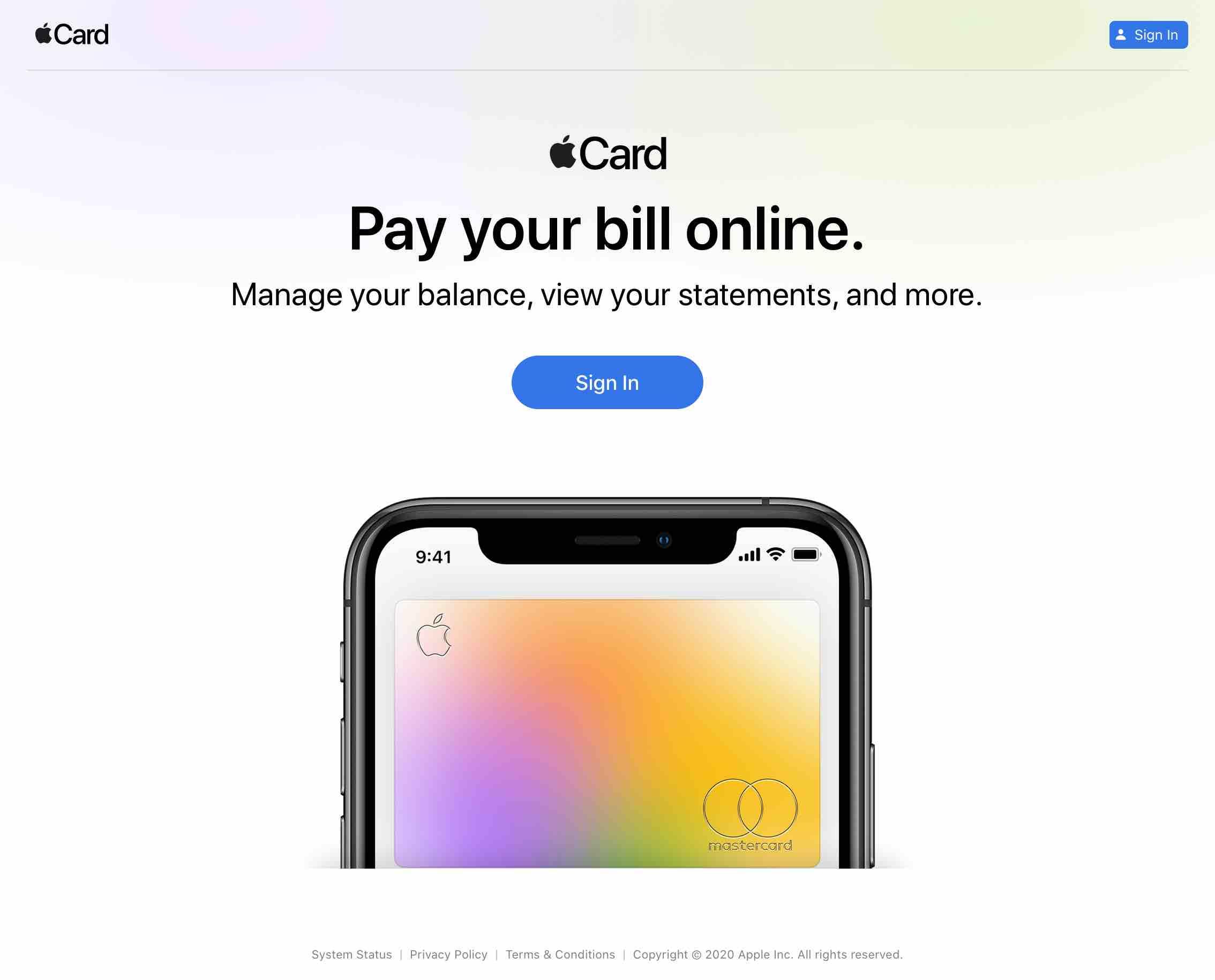 Apple Card na web