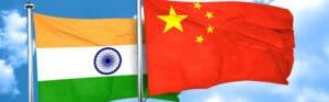 Bandeiras da Índia e da China