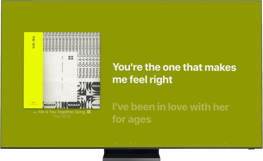 Letras sincronizadas do Apple Music na Smart TV da Samsung