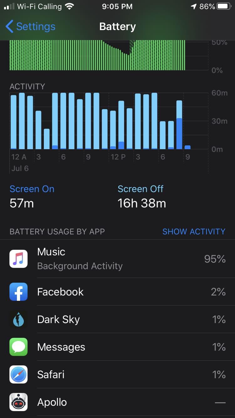 App Música drenando bateria
