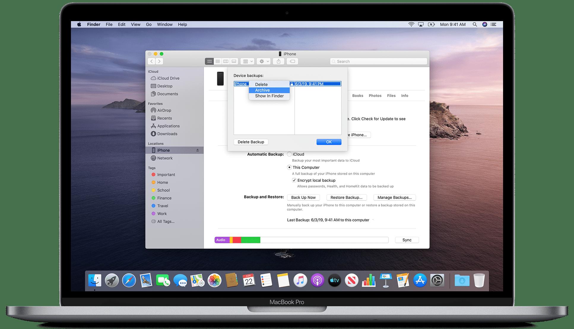 Arquivando backup do iOS no macOS Catalina