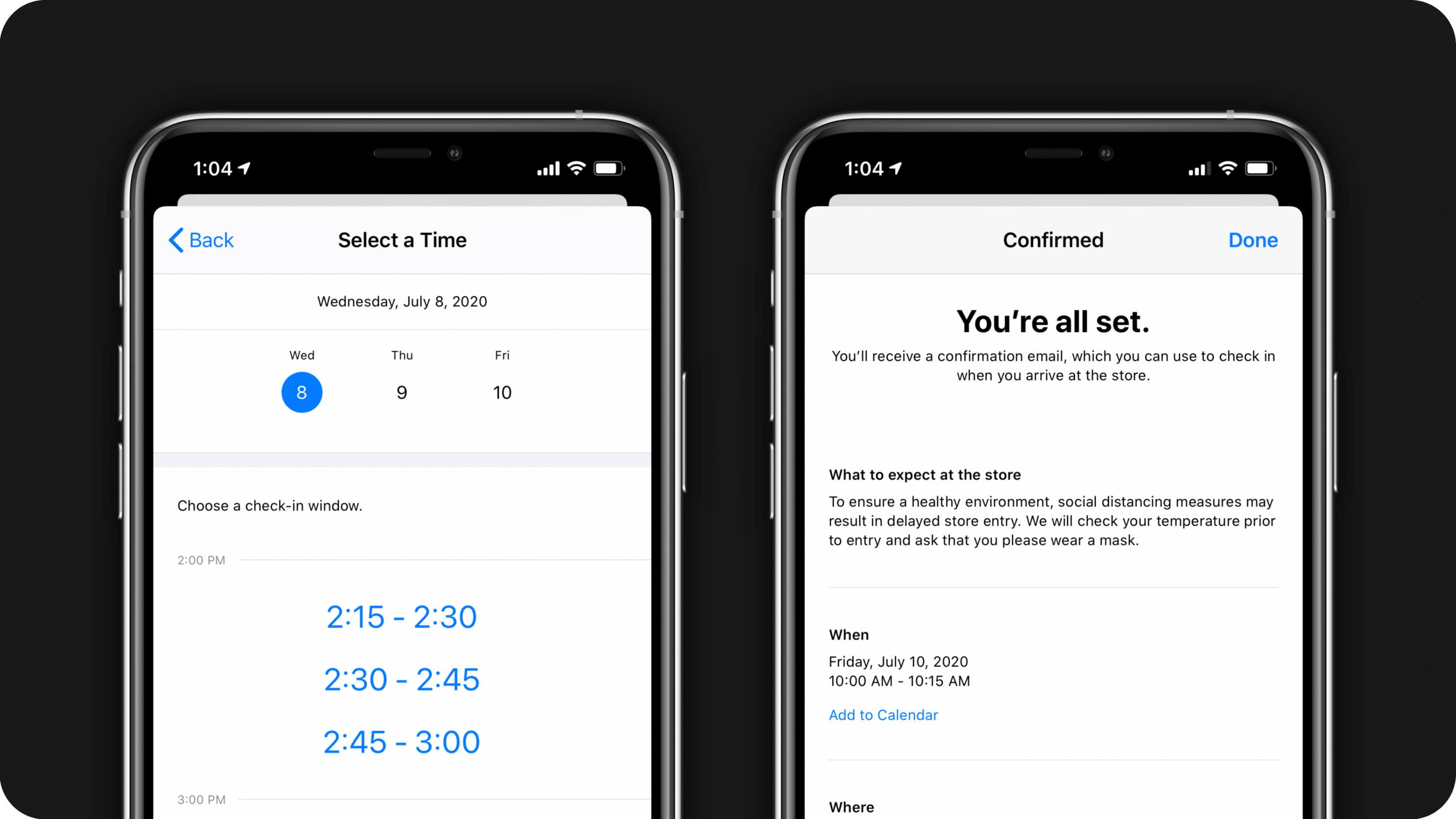 Agendamento no app Apple Store