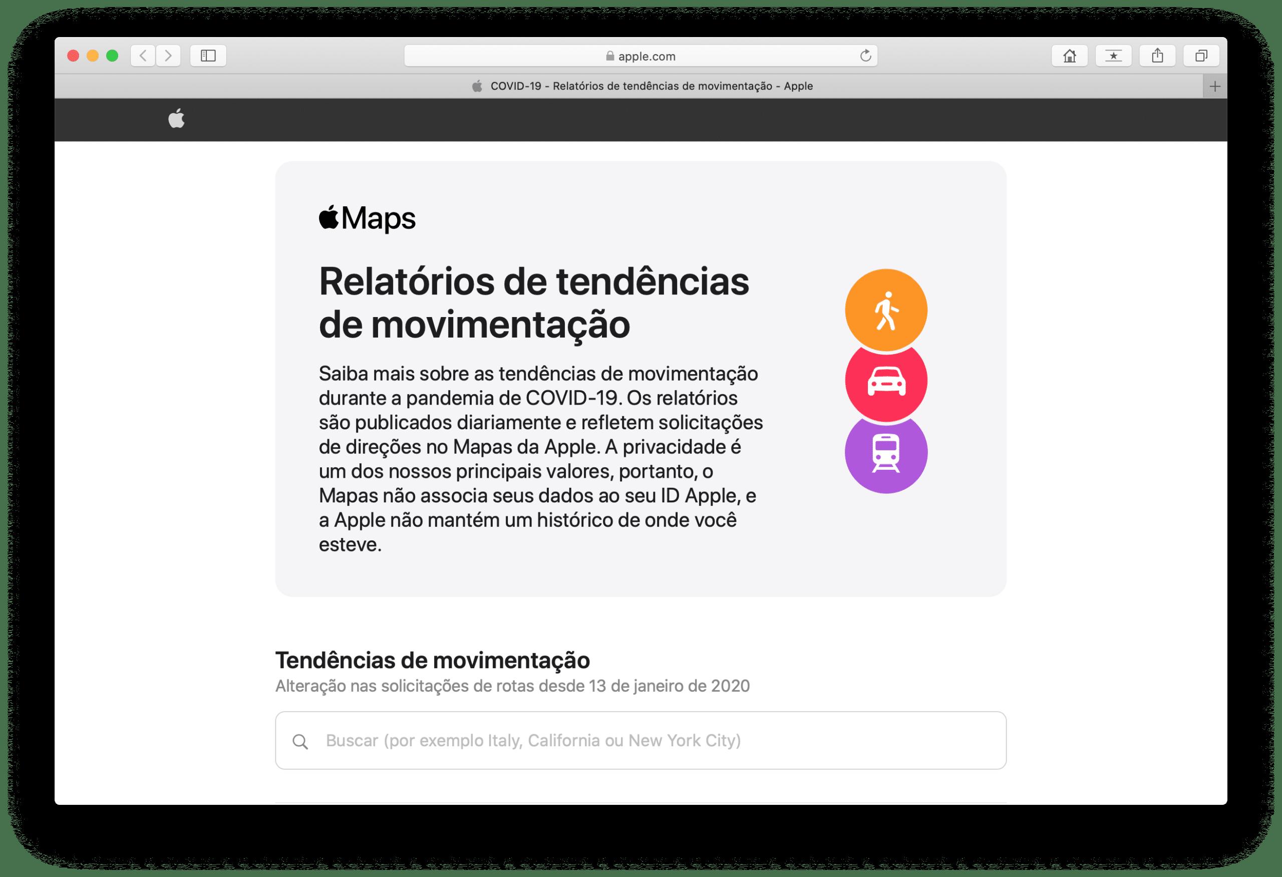 Relatórios de tendências de movimentação da Apple