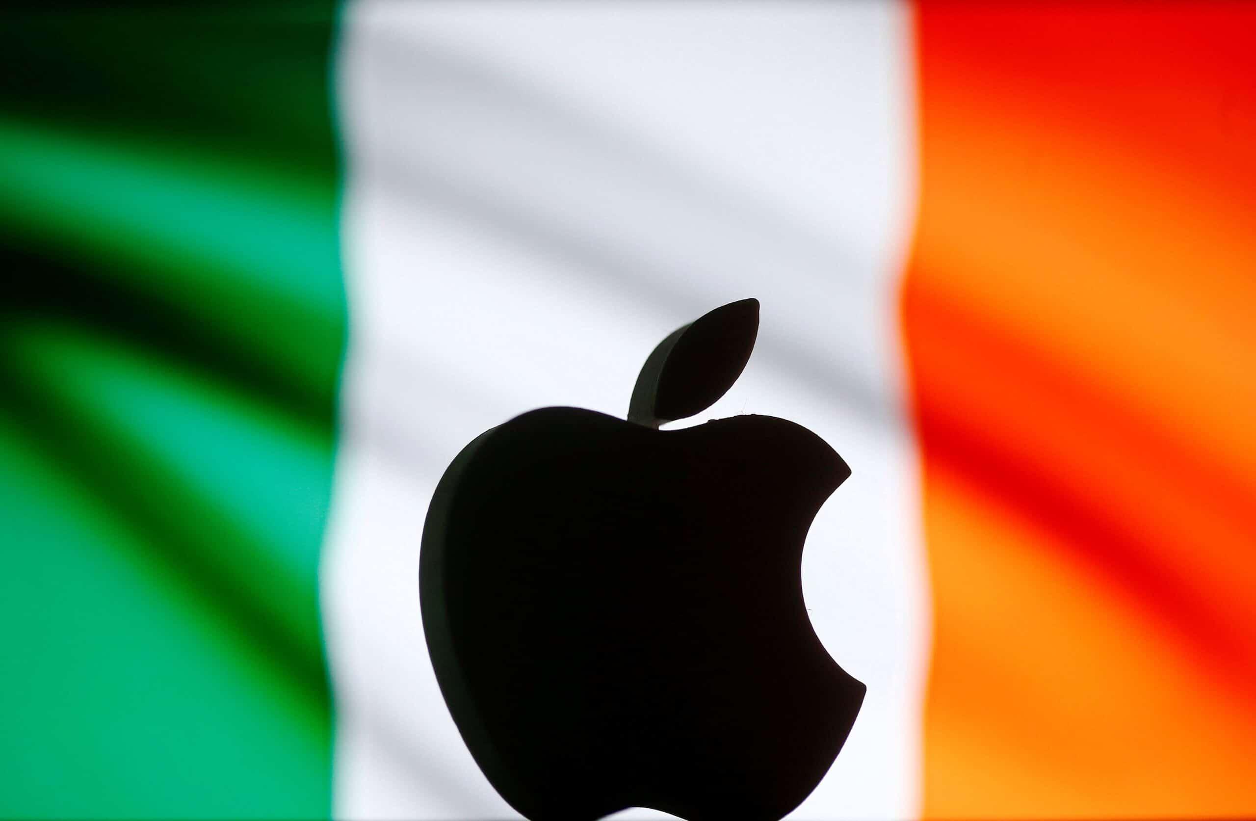 Logo da Apple e bandeira da Irlanda