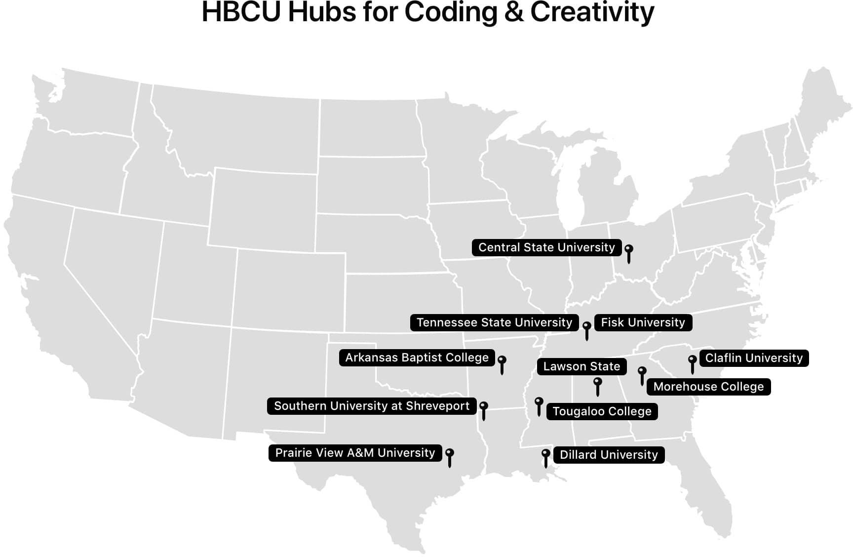 Novos centros da Apple nas HBCUs