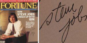 Capa da revista Fortune autografada por Steve Jobs