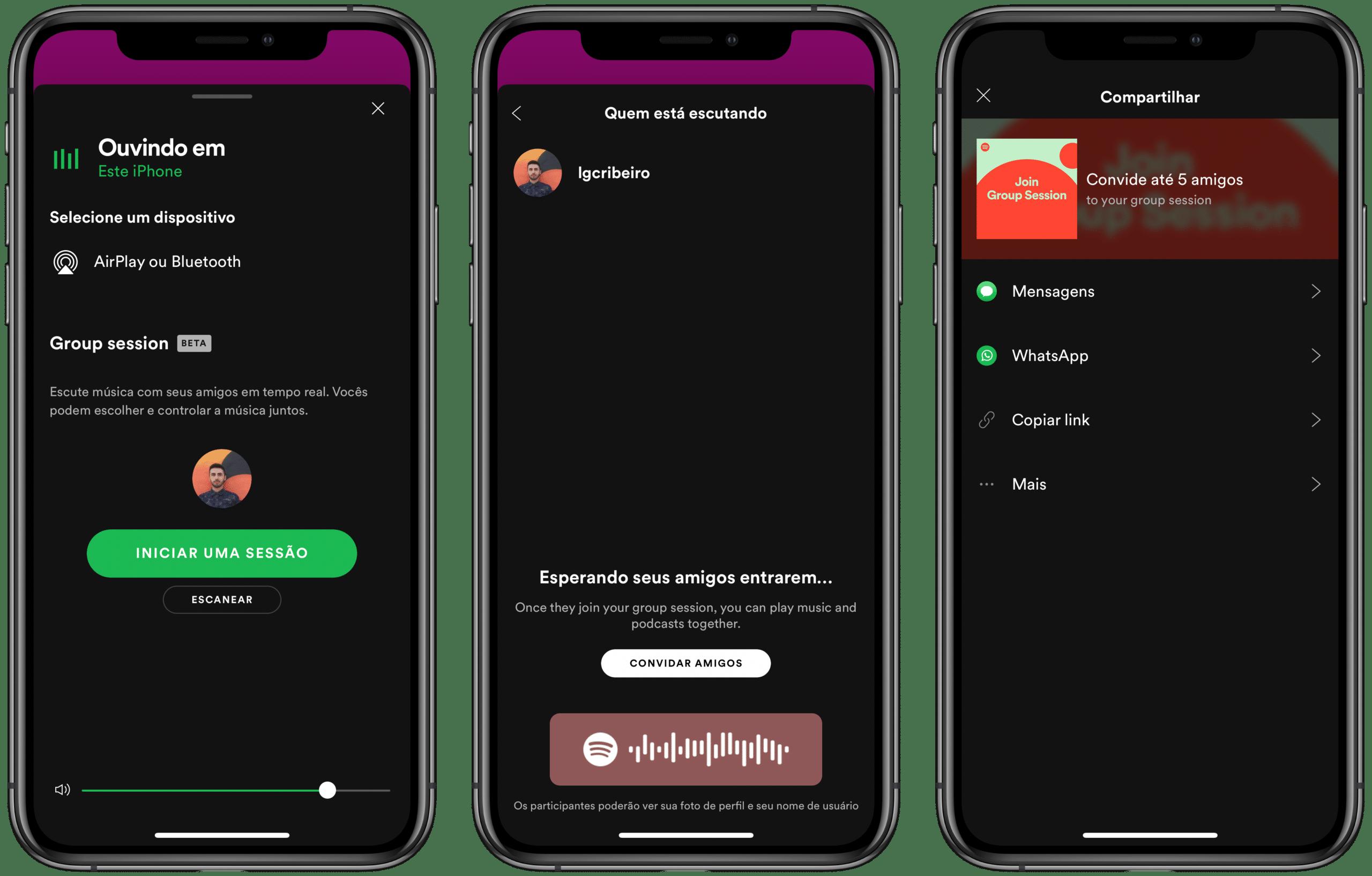 Sessão em grupo do Spotify