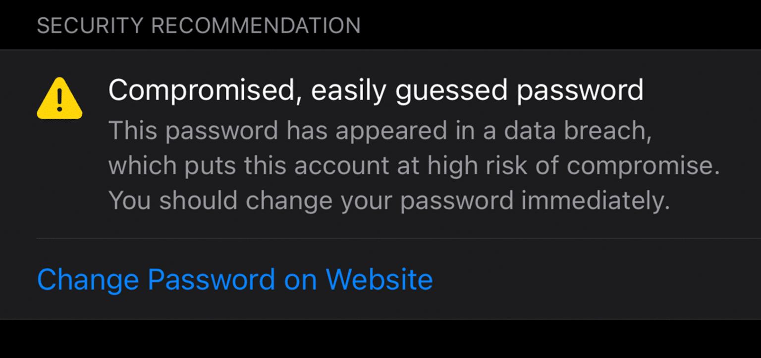 Alerta de senha vazada no iOS 14