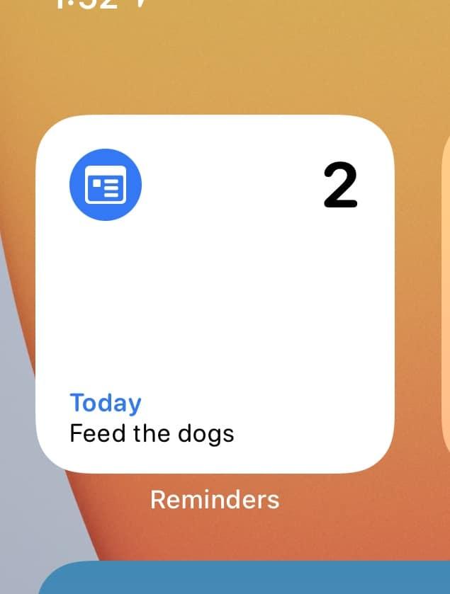Novo widget de Lembretes no iOS 14