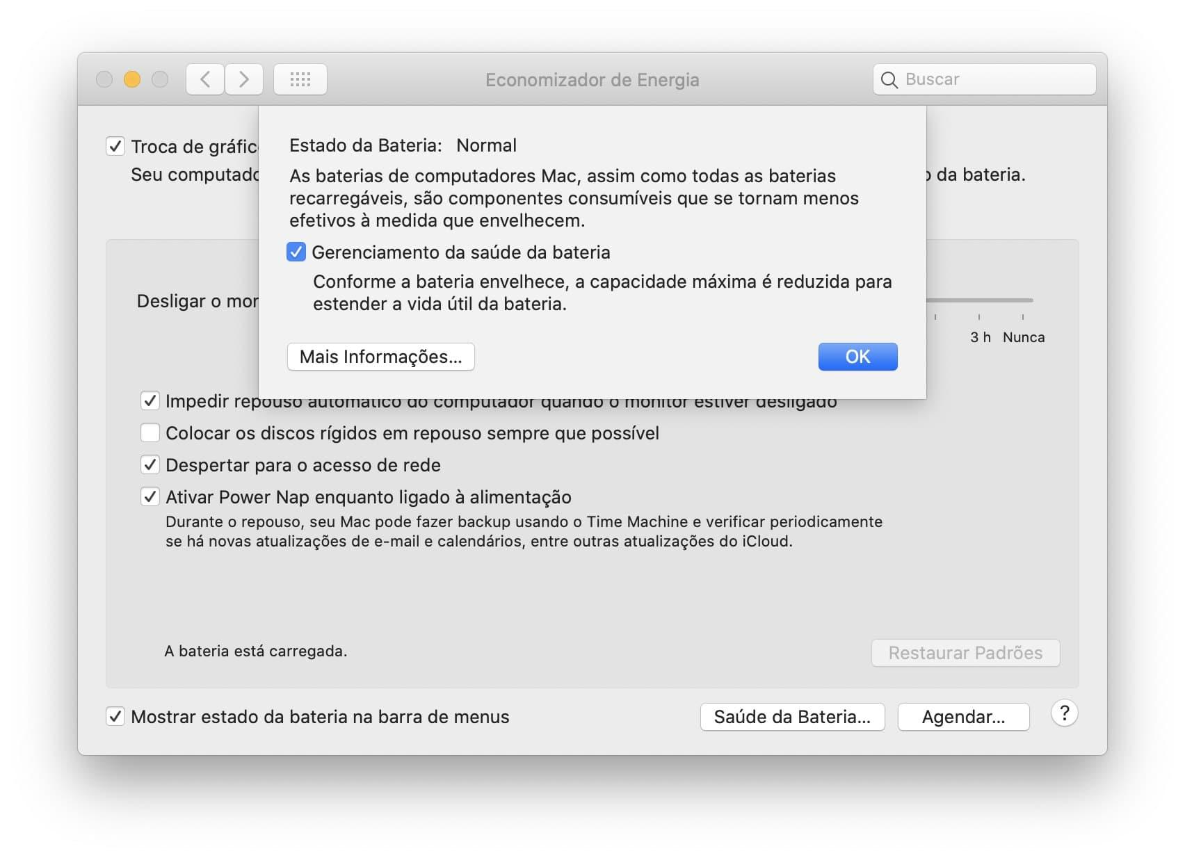Gerenciamento da saúde da bateria do macOS