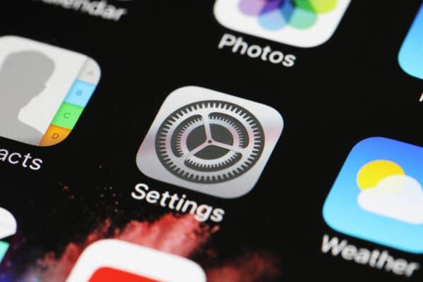 Ícone de Ajustes (Settings) do iOS em close-up