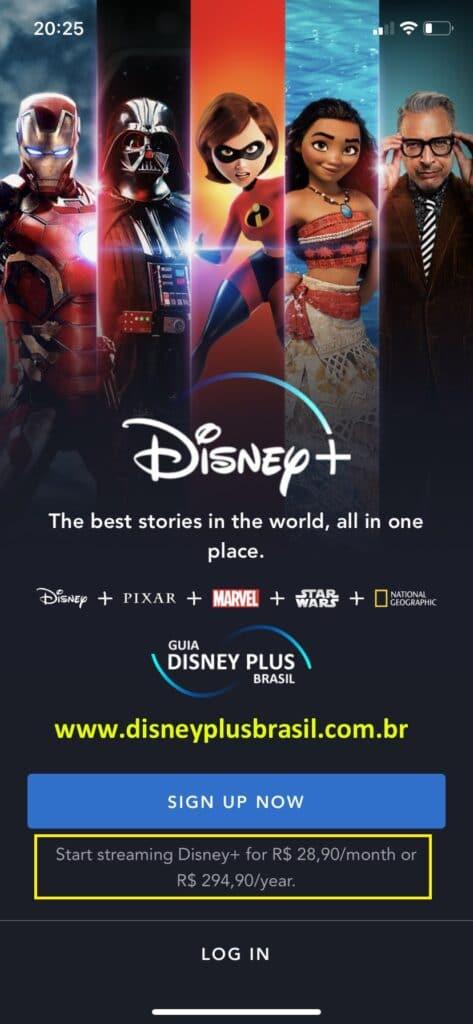 Assinatura do Disney+ no iOS