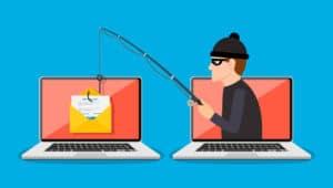 Vetor/desenho de ataque de phishing