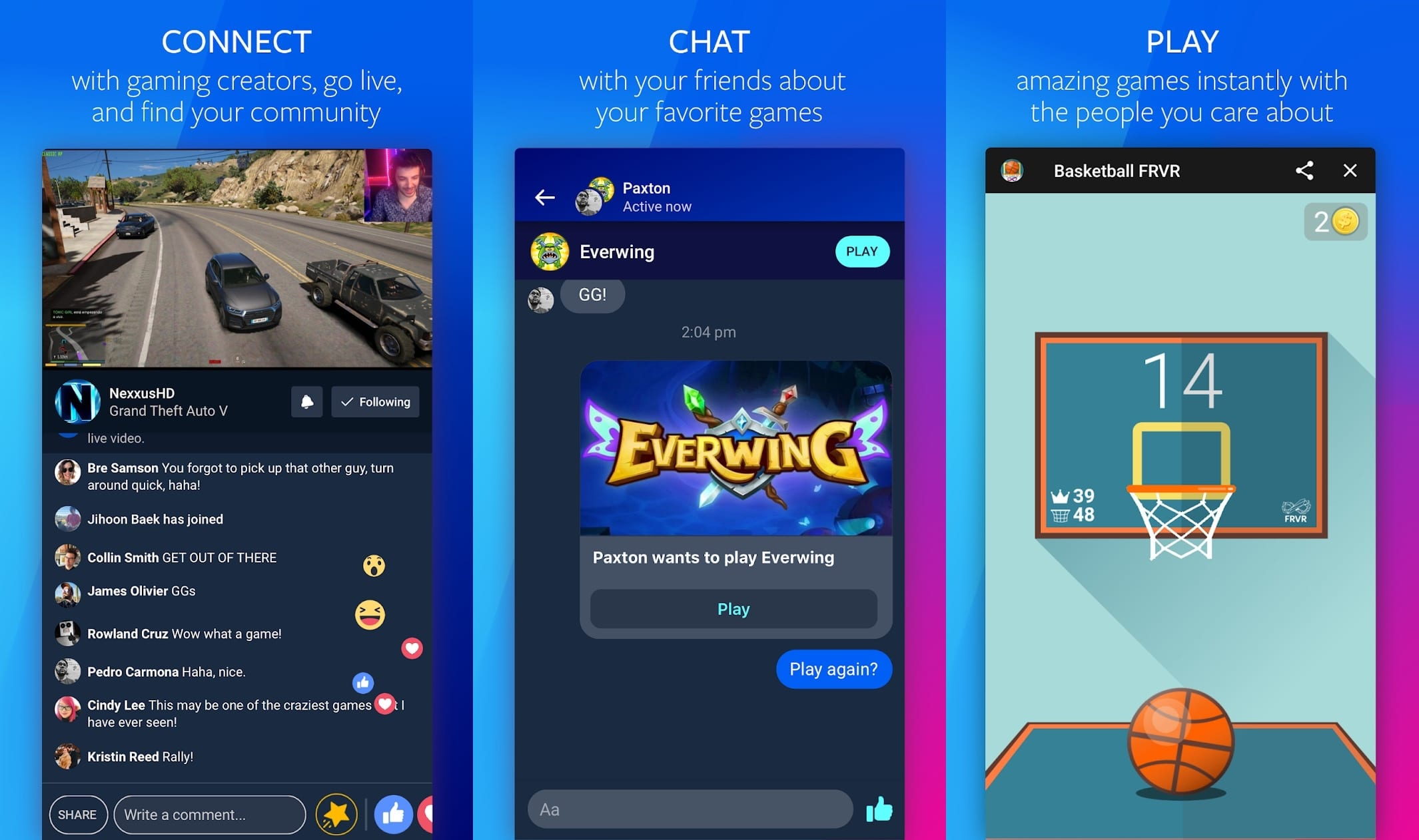 Screenshots do Facebook Gaming