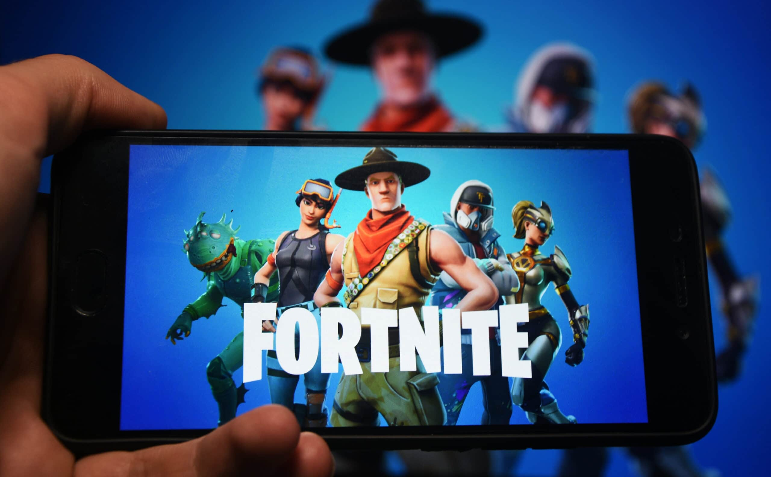 Jogo Fortnite, da Epic Games, em um iPhone