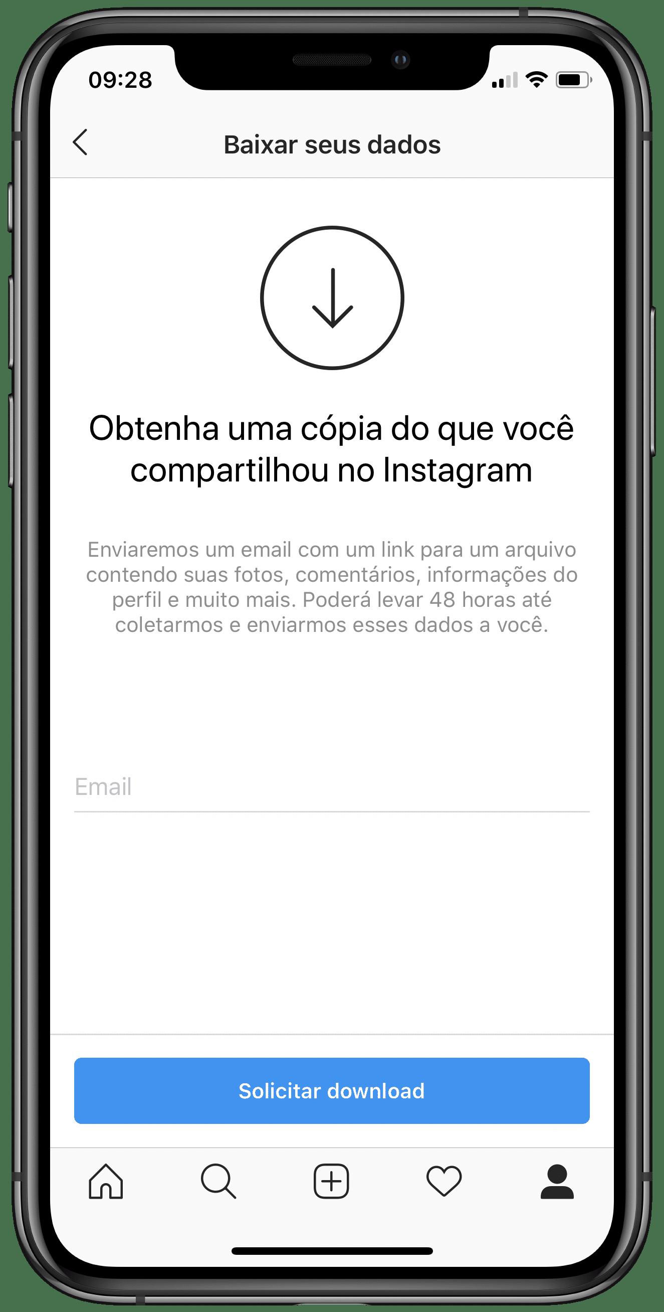 Download de dados do Instagram