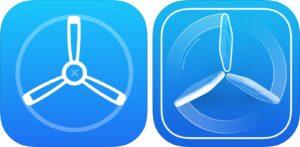 Ícones antigo (à esquerda) e novo (à direita) do app TestFlight, da Apple