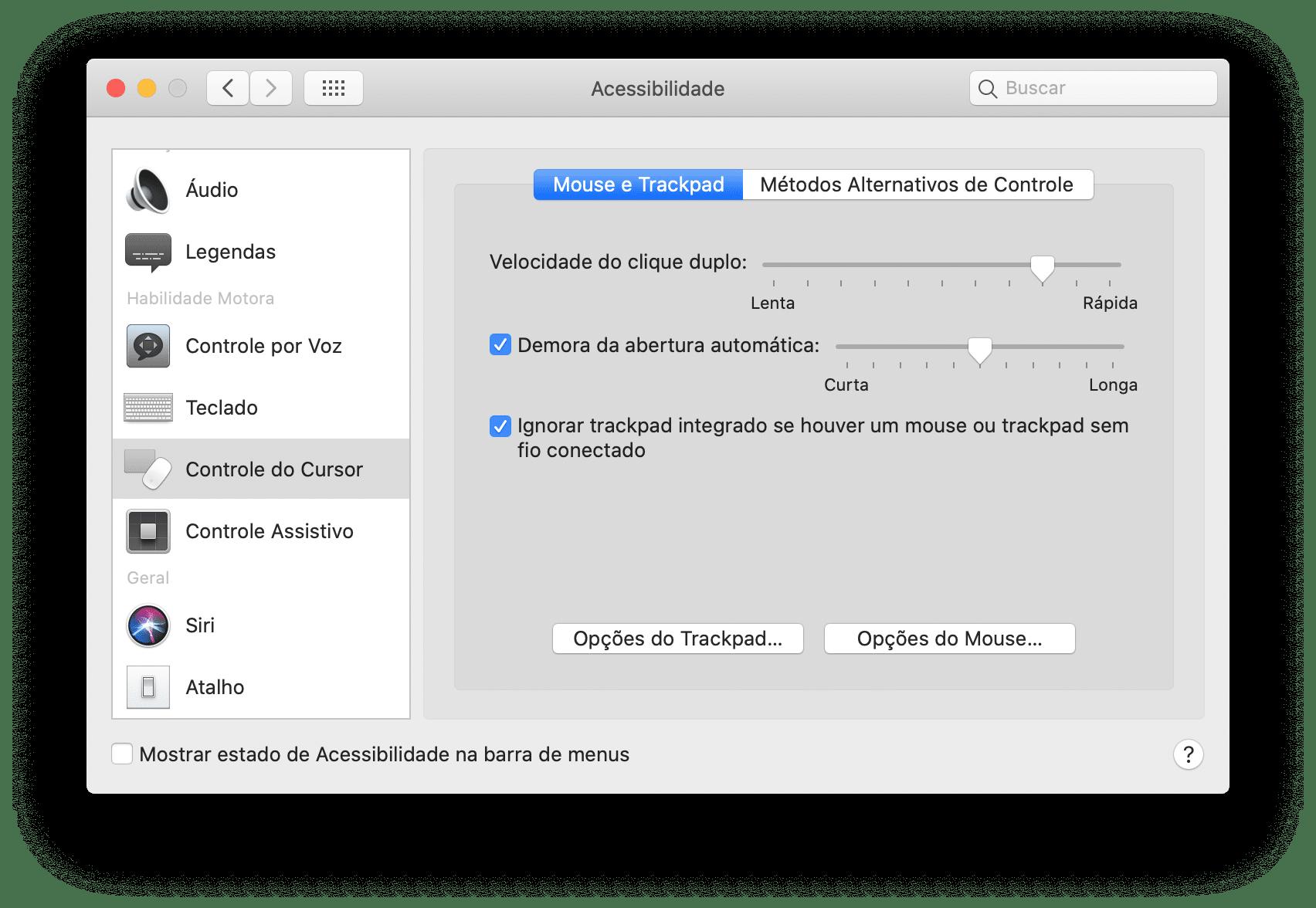 Opção para ignorar o trackpad integrado