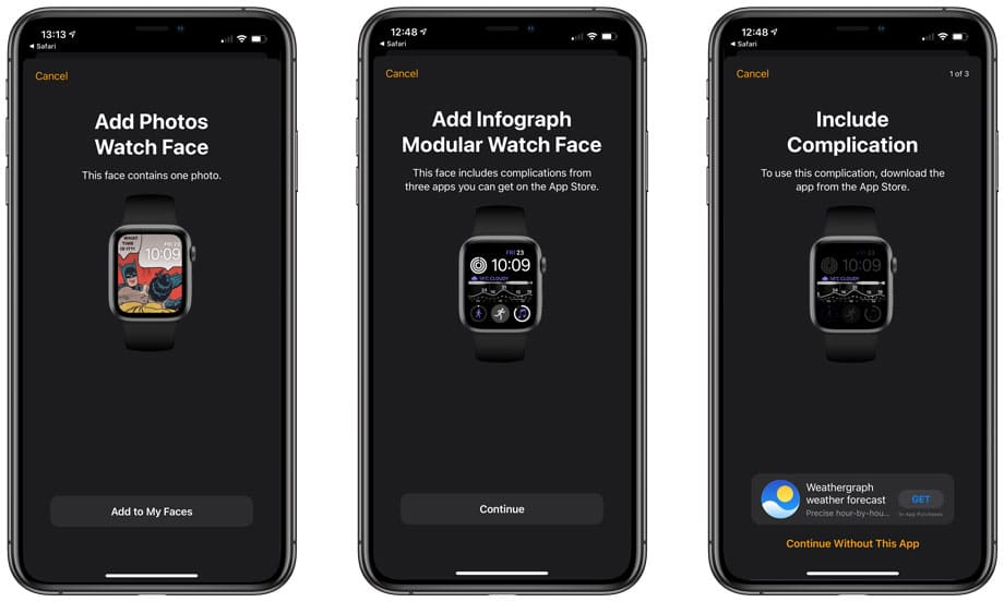 Adição de mostradores e complicações no iOS 14