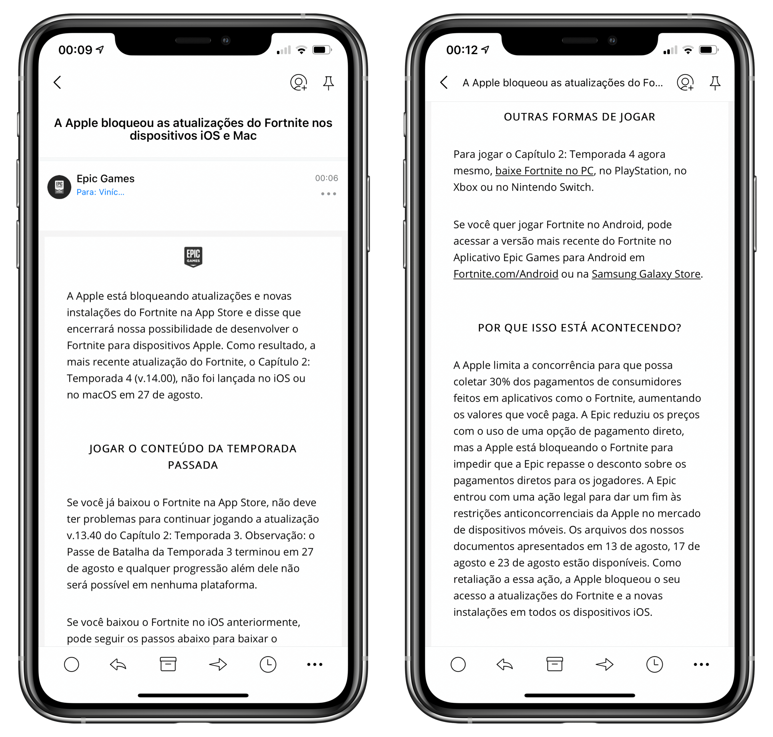 Email da Epic sobre Fortnite bloqueado