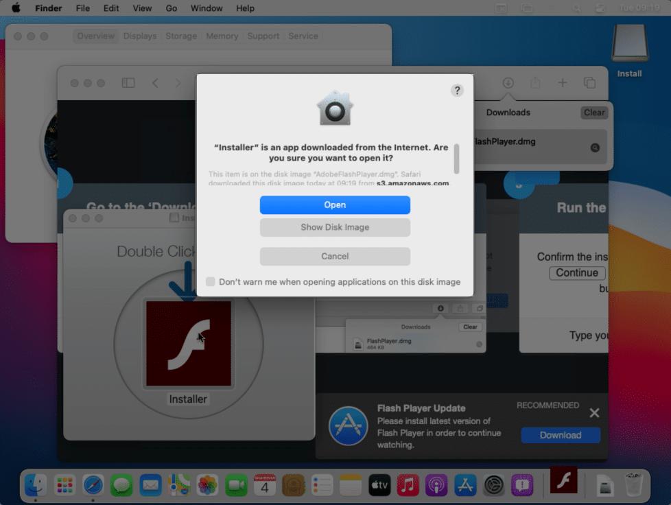 Instalador do Flash Player com código malicioso