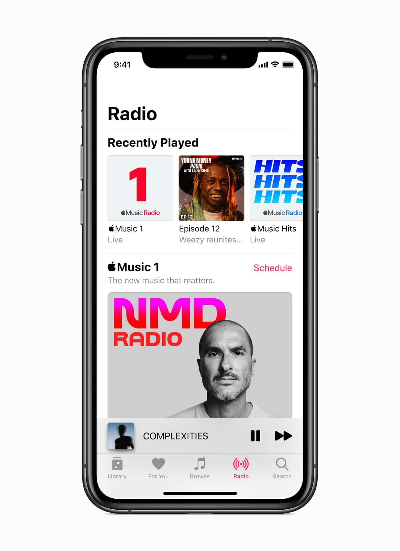 Rádio Apple Music 1 num iPhone