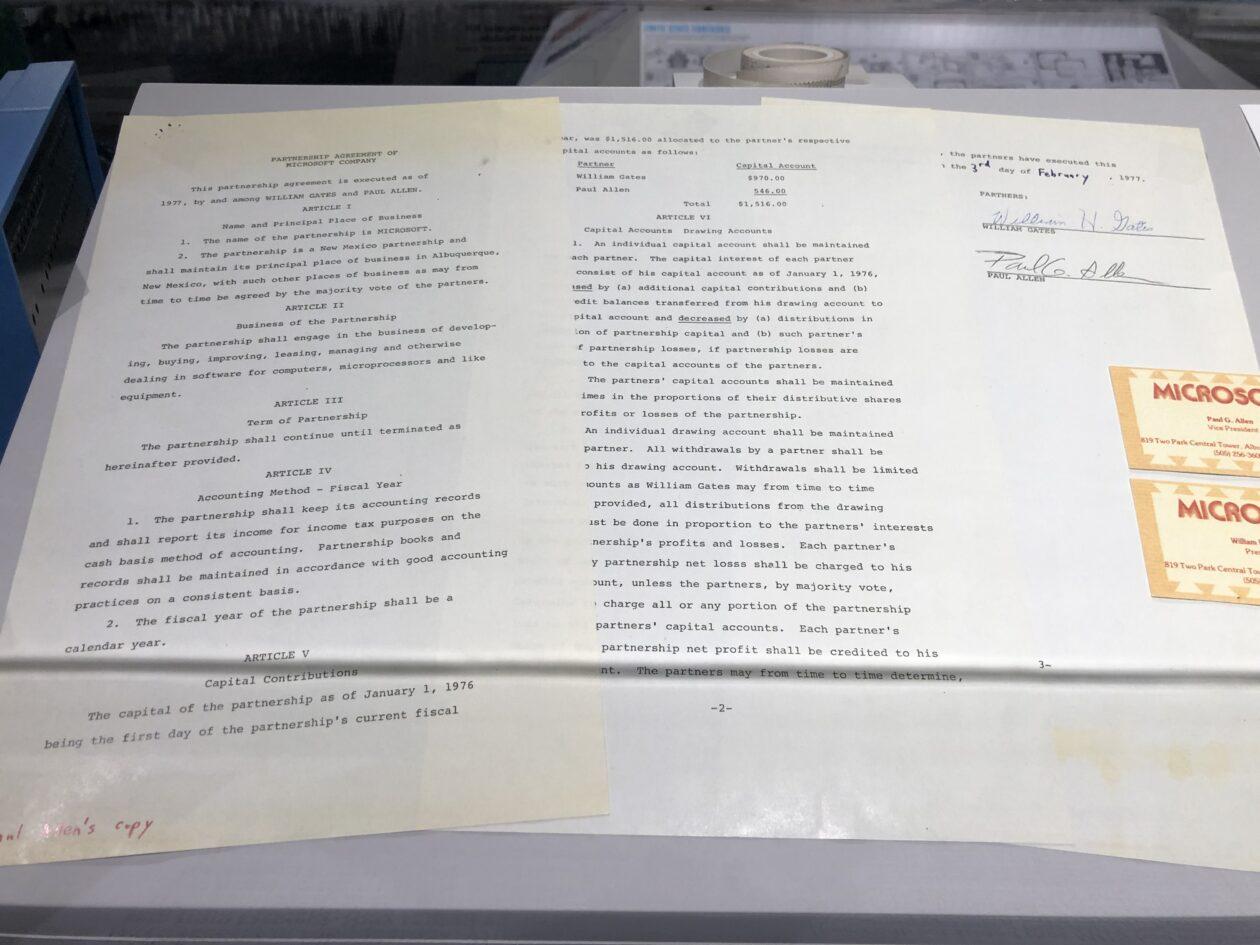 Contrato de sociedade entre Bill Gates e Paul Allen - Living Computers Museum + Labs