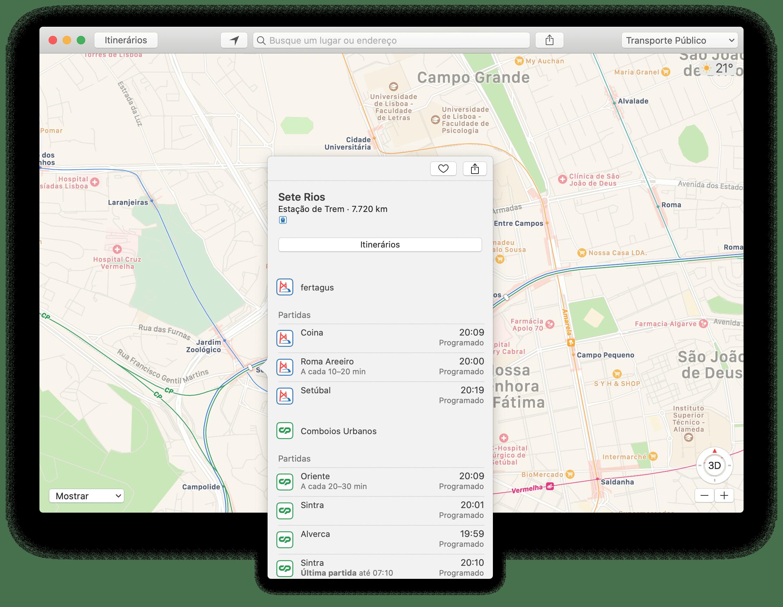 Informações de transporte público nos Mapas da Apple em Lisboa