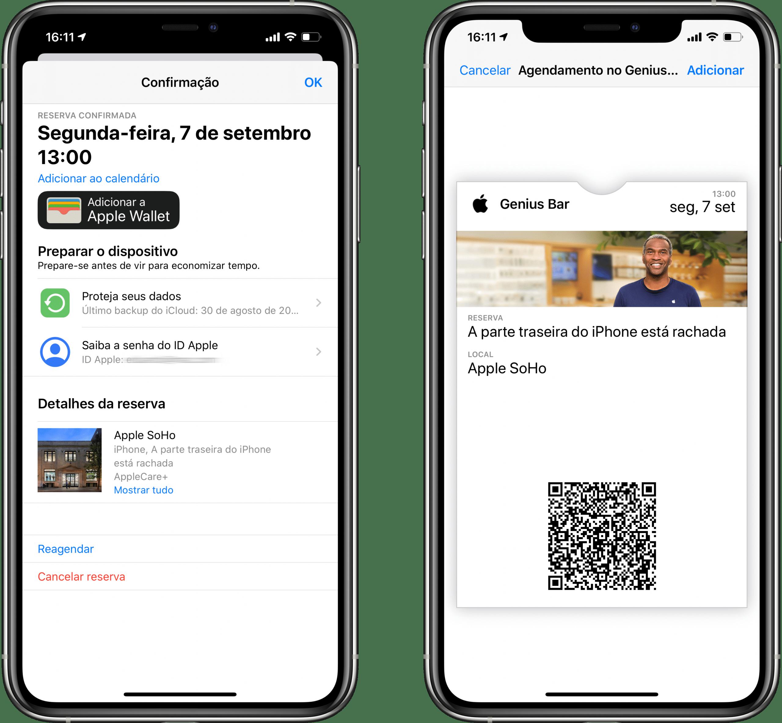 Tíquete no Wallet gerado no app Suporte da Apple