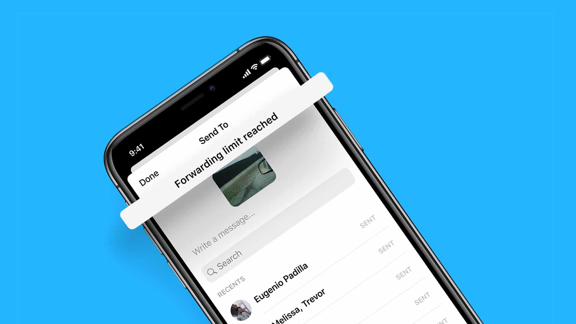 Limite de encaminhamento de mensagens no Messenger