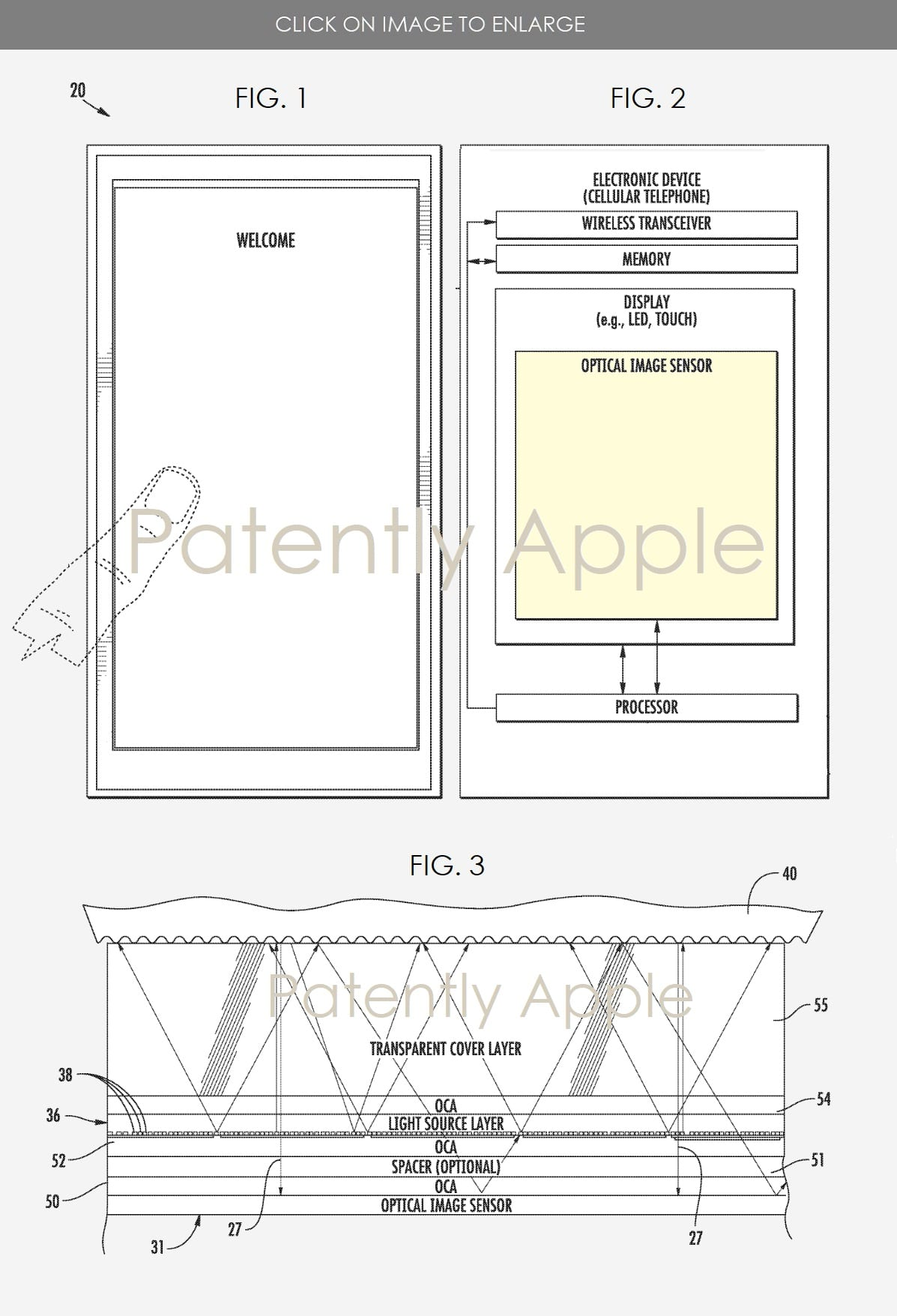 Ilustração de patente de leitor biométrico sob o display