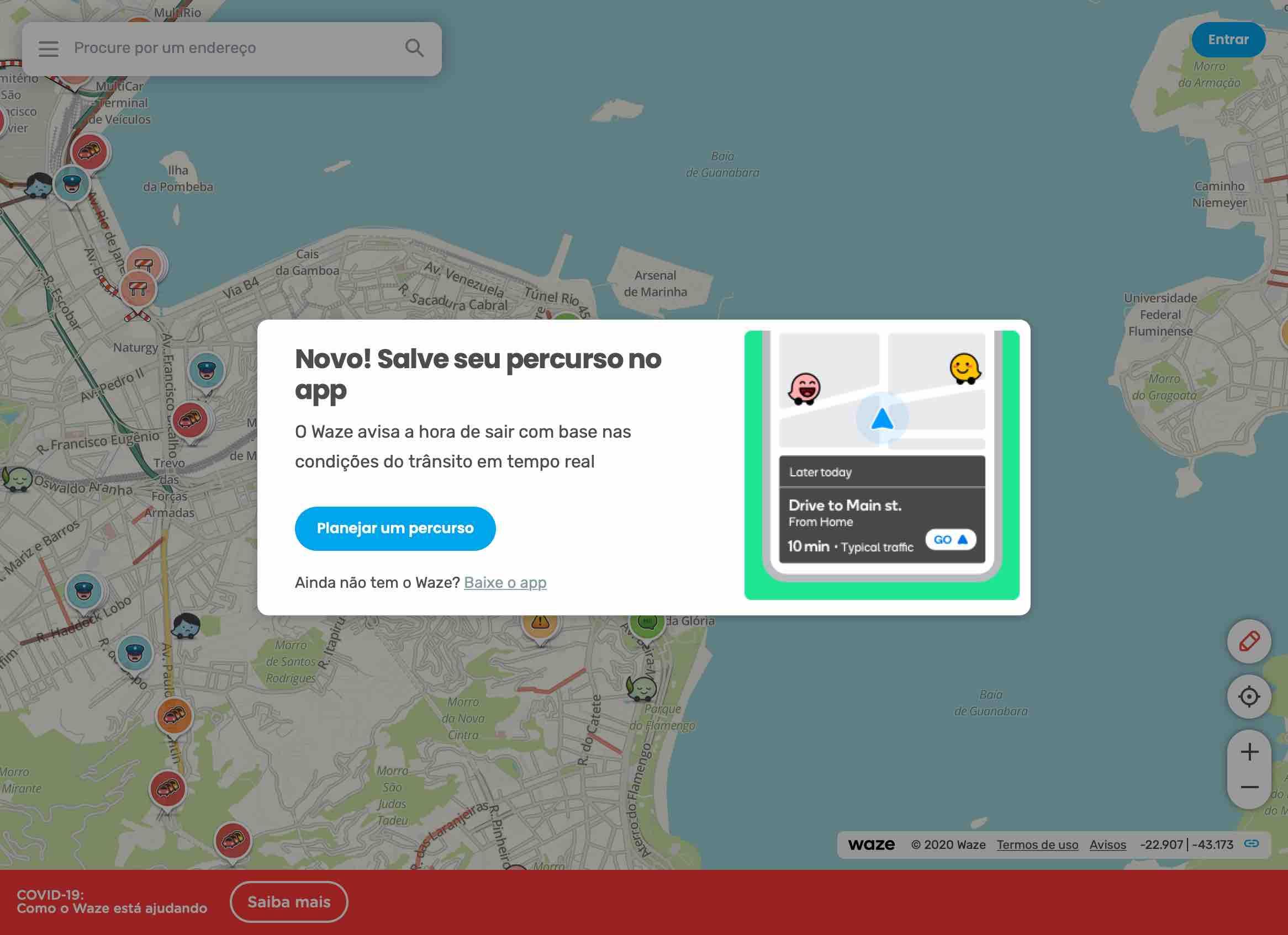 Salvando rotas do Waze Live Map no smartphone