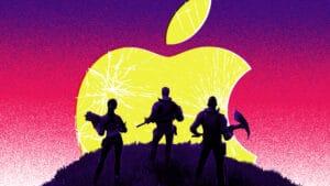 Personagens de Fornite em frente o logo da Apple