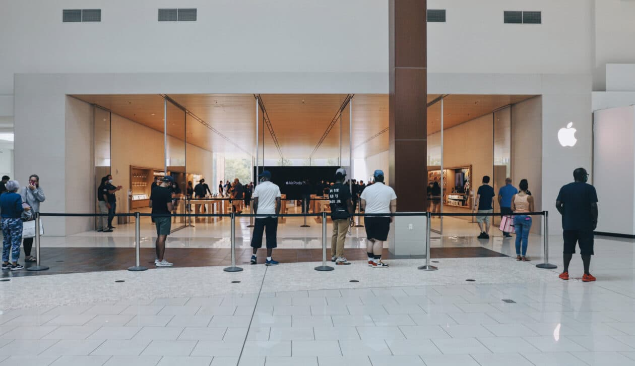 Entrada da Video Wall da Apple Cherry Hill pelo shopping