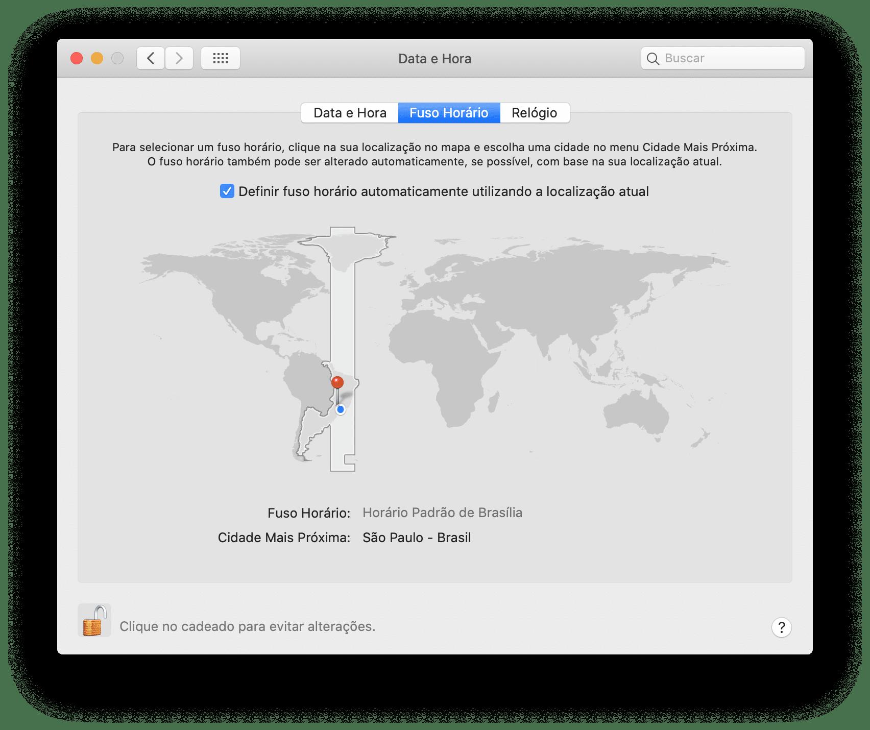 Ajustes de Fuso Horário do Mac