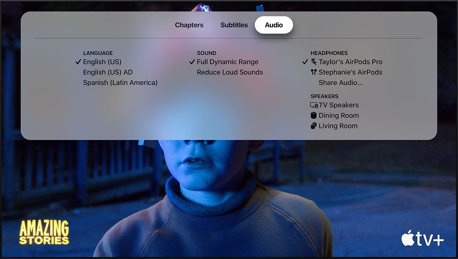 Compartilhamento de áudio na Apple TV