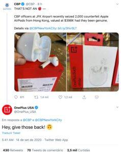 OnePlus Buds apreendidos como AirPods falsos