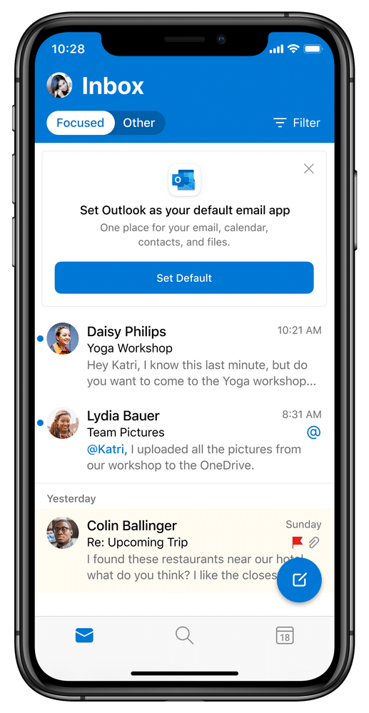 Outlook no iOS 14
