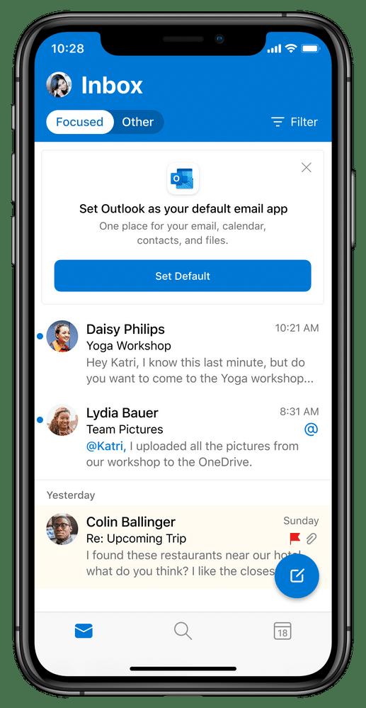 Outlook no iOS 14