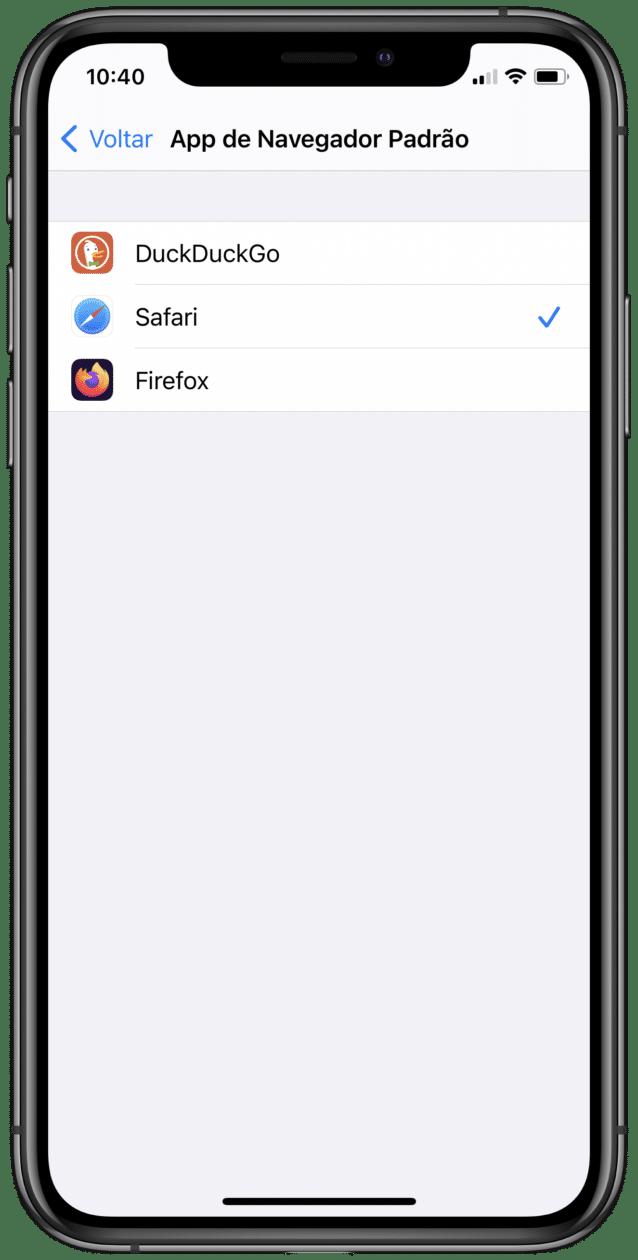 Navegador padrão do iOS 14